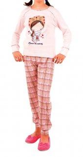 Kız Çocuk Pijama Takımı Uzun Kollu Garson Pamuk