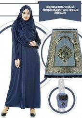 Tek Parça Namaz Elbisesi Lacivert 5015 & Seccade & Zikirmatik Üçlü Takım 1212