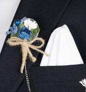 Deepsea Lacivert Beyaz Kendinden Noktalı Ve Kare Desenli Mendil Ceket Aksesuarı Seti 1901898
