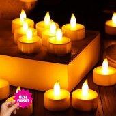 ışıklı Dumansız Led Pilli Mum 24 Adet Pil Dahil