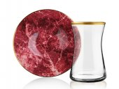 Sembol Kırmızı Mermer 12 Parça Çay Seti