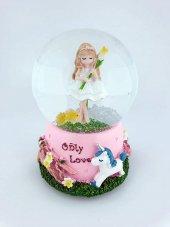 Only Love Unicornlu Ve Sarı Çiçekli Kız Orta Boy Pilli Kar Küresi