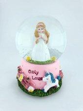 Only Love Unicornlu Ve Beyaz Çiçekli Kız Byk Boy Kurmalı Kar Küre
