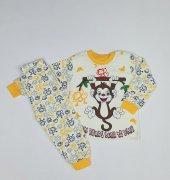 Erkek Bebek Maymun Modelli Pijama Takımı 1 3 Yaş Sarı C70840 18