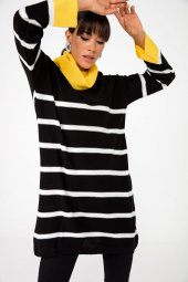 Liplipo Boğazlı Enine Çizgili Likra Triko Elbise