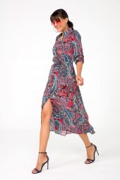 Liplipo Karışık Desen Kuşaklı Uzun Viskon Gömlek Elbise