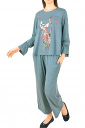 Kadın Pijama Takımı Uzun Kollu Viskon