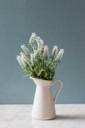 Italyan Saksıda Beyaz Nemesia Yapay Çiçek
