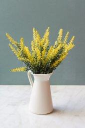Italyan Saksıda Sarı Provence Yapay Çiçek Lavanta