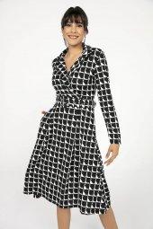 Liplipo Kruvaze Geometrik Desen Kemerli Likra Elbise